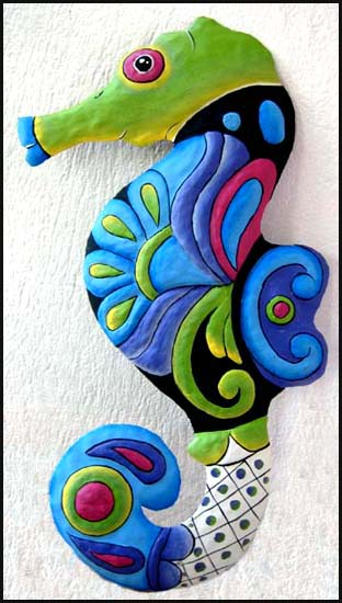 Hand painted seahorse wall hanging - Tropical metal garden art - Handcrafted in Haiti from recycled steel drums