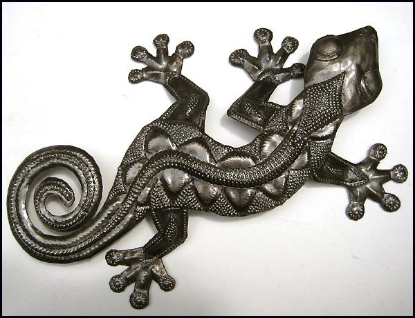 metal gecko wall hanging. Haitian recycled steel drum art.  - tropical decor