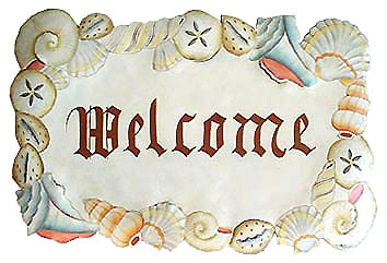 hand painted metal wall hanging - tropical design - Shells - shell welcome sign